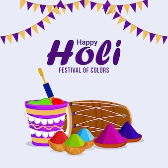 Feliz holi o holika dehan con fondo y fuego creativo