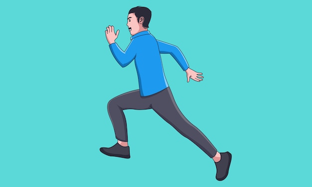 Feliz hombre de negocios correr y saltar