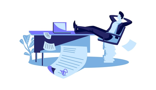 Feliz hombre de negocios se sienta con las piernas sobre la mesa, se concluye con éxito un contrato, ilustración vectorial de dibujos animados