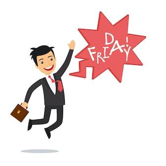Feliz hombre de negocios el viernes