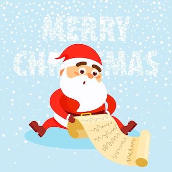 Feliz el hombre vestido con ropa de santa claus lee la carta sobre fondo de nieve concepto de feliz navidad