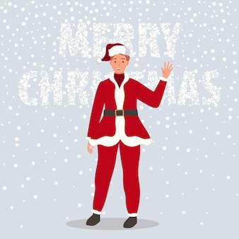 Feliz hombre vestido con ropa de santa claus sobre fondo de nieve macho saluda