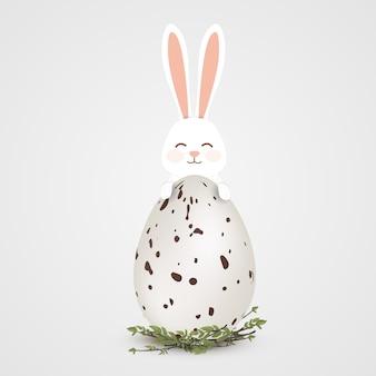 Feliz huevo de pascua con conejito