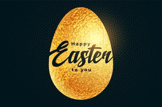 Feliz huevo de pascua dorado en estilo de lámina con textura