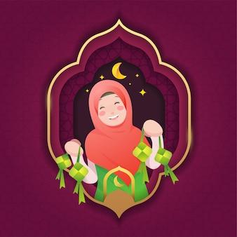 Feliz ied al fitr con linda niña hijab mostrando ketupat ambas manos después del diseño de estilo plano de vacaciones de ramadan kareem