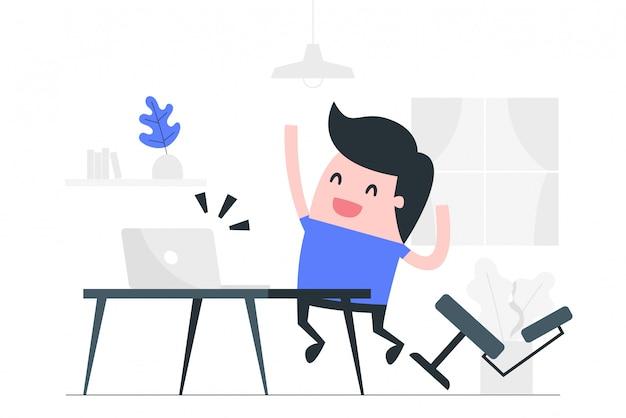 Feliz en la ilustración del concepto de trabajo.