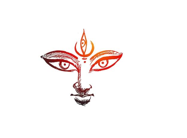 Feliz ilustración de diseño de navratri maa durga, shubh navratri, durga puja.