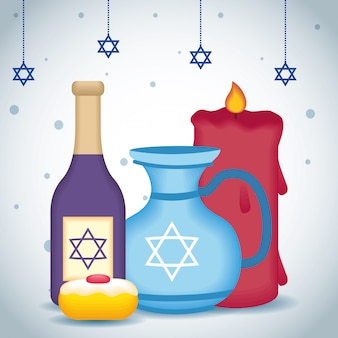 Feliz ilustración de hanukkah con botella de vino y tetera