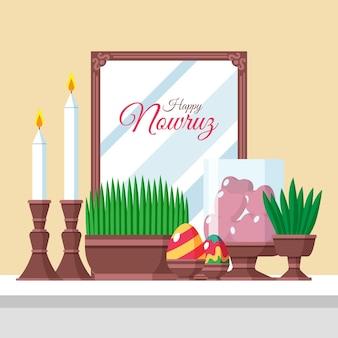 Feliz ilustración de nowruz con brotes y espejo