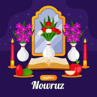 Feliz ilustración de nowruz con espejo y manzana