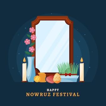 Feliz ilustración de nowruz con espejo