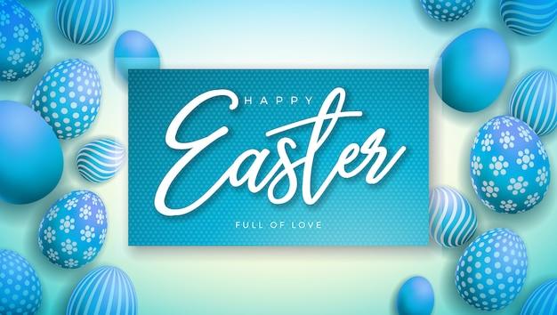 Feliz ilustración de pascua con huevo pintado colorido