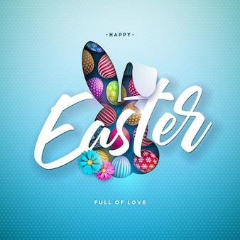 Feliz ilustración de pascua con huevos pintados de colores y orejas de conejo