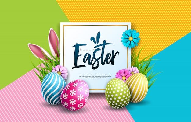 Feliz ilustración de vacaciones de pascua con huevo y flor