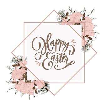 Feliz inscripción de letras de pascua con flores y brunches.