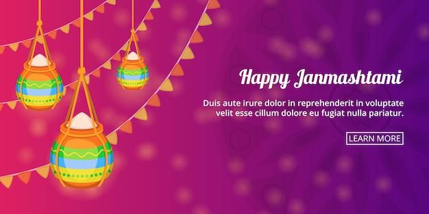 Feliz janmashtami banner horizontal, estilo de dibujos animados