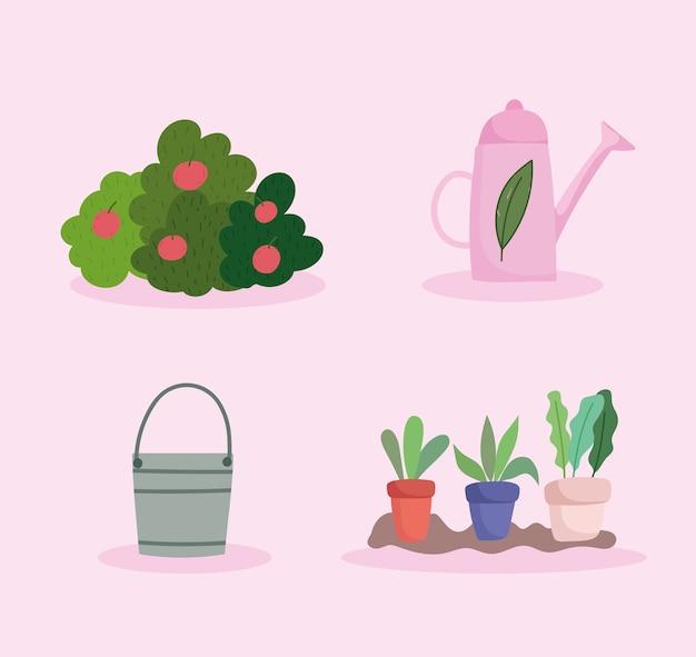 Feliz jardín, cubo de regadera, arbustos de frutas y plantas en macetas