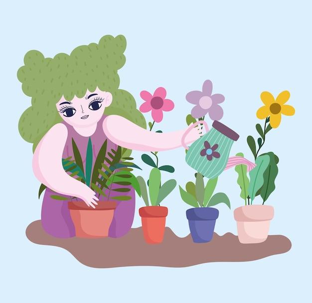 Feliz jardín, niña con regadera plantar plantas y flores en macetas