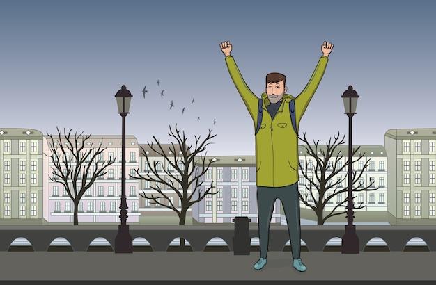Feliz joven caminando por la noche en la vieja ciudad europea. un turista con las manos en alto, gesto de acierto a goles. ilustración.