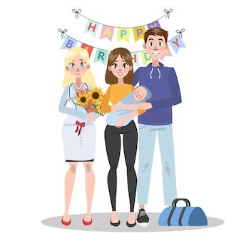 Feliz joven papá y mamá con bebé