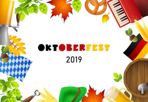 Feliz letras de oktoberfest y elementos fest