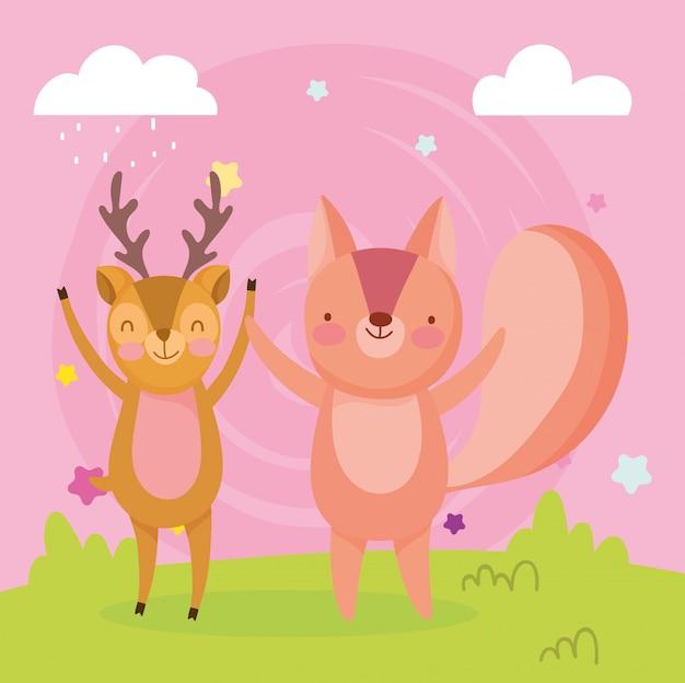 Feliz linda ardilla y ciervos en el campo de dibujos animados