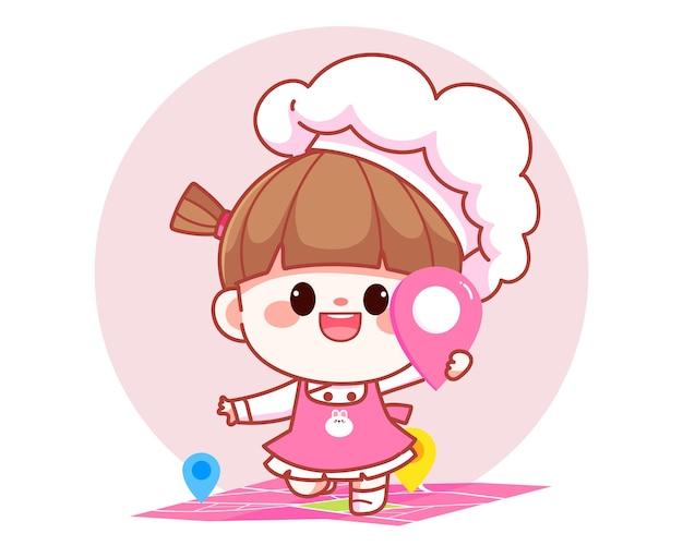 Feliz linda chica chef de pie en el mapa y sosteniendo la ubicación pin banner logo ilustración de arte de dibujos animados