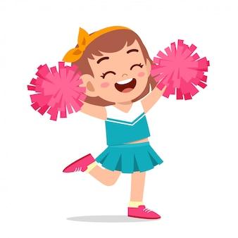 Feliz linda chica vistiendo uniforme lindo animadora
