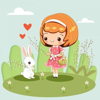 Feliz linda y niña y conejo