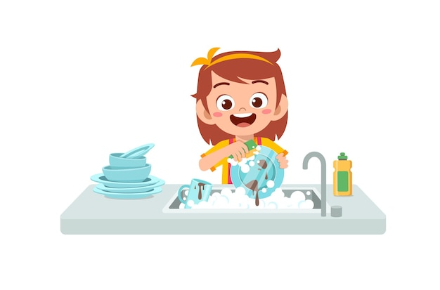 Feliz linda niña lavando un plato en la cocina