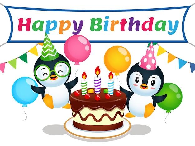 Feliz linda pareja pingüino alrededor de la torta de cumpleaños