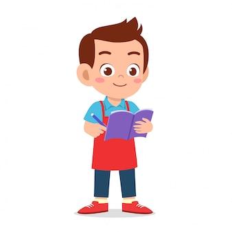 Feliz lindo chico camarero escribir orden