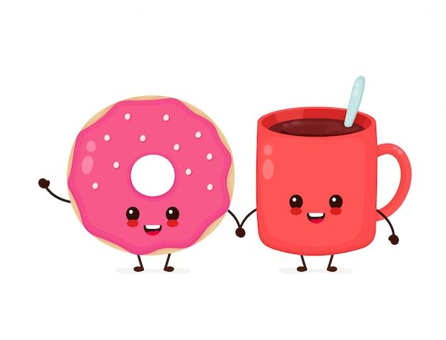 Feliz lindo donut con taza de chocolate