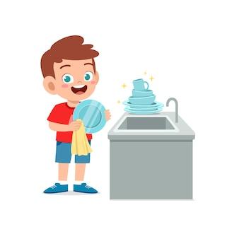 Feliz lindo niño lavando un plato en la ilustración de la cocina aislada