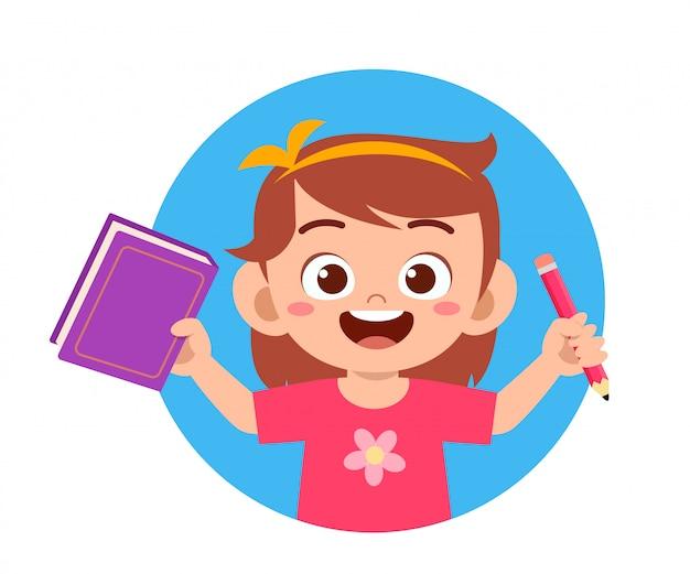 Feliz lindo niño niña colegiala leer libro