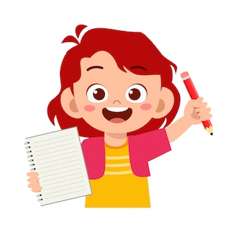 Feliz lindo niño niña sostenga cuaderno y lápiz