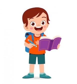 Feliz lindo niño niño leer libro