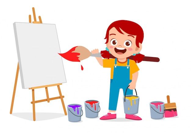 Feliz lindo niño niño pintura sobre lienzo