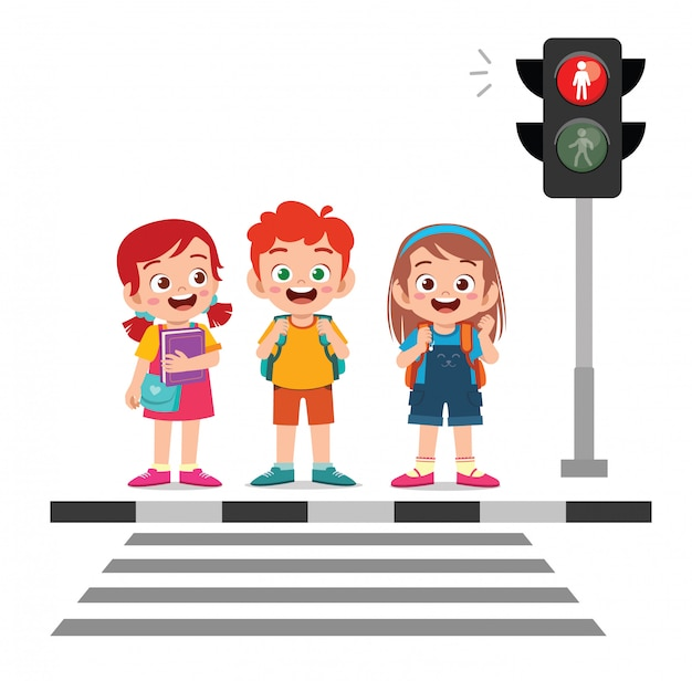 Feliz lindo niño pequeño niño y niña cruzan la calle