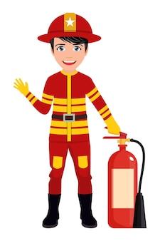 Feliz lindo personaje de bombero inteligente vistiendo trajes de bomberos y saludando aislado con casco de fuego y extintor de incendios