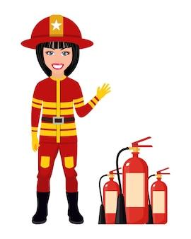 Feliz lindo personaje de bombero inteligente vistiendo trajes de bomberos y saludando aislado con casco de fuego y extintores de incendios
