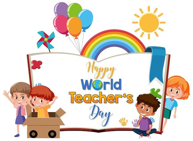Feliz logo del día mundial del maestro con un grupo de estudiantes lindos