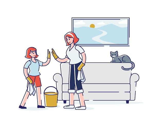 Feliz madre e hija limpiando la habitación juntos limpiando el polvo y la tristeza