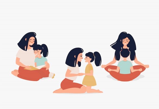 Feliz madre con una hija hablando, haciendo yoga, leyendo un libro