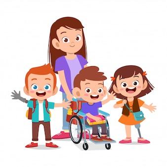 Feliz madre con niño discapacitado