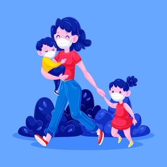 Feliz madre y niños caminando