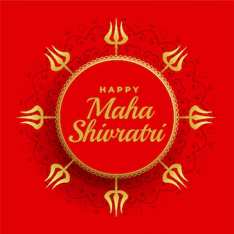 Feliz maha shivratri fondo rojo con decoración trishul