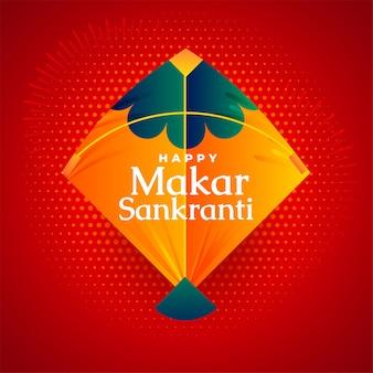 Feliz makar sankranti festival kite en tarjeta de felicitación roja