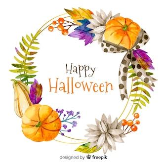 Feliz marco acuarela de halloween