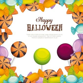 Feliz marco de halloween con caramelos
